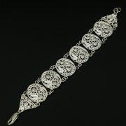 Серебряный кубачинский браслет с филигранью ручной работы арт.9776