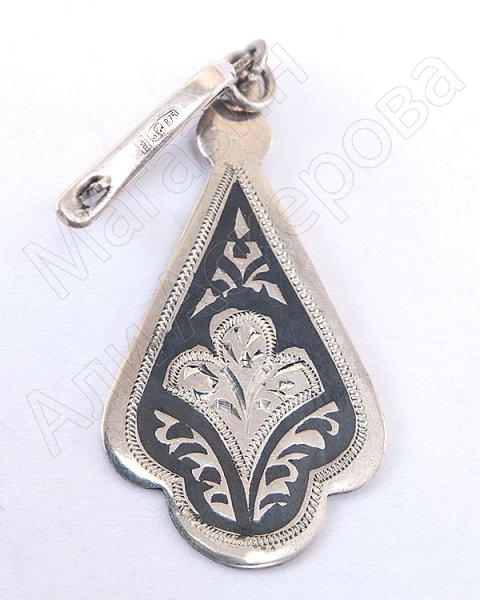 Кубачинские серебряные серьги ручной работы с чернением №1