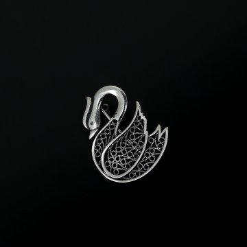 Серебряная брошь Лебедь