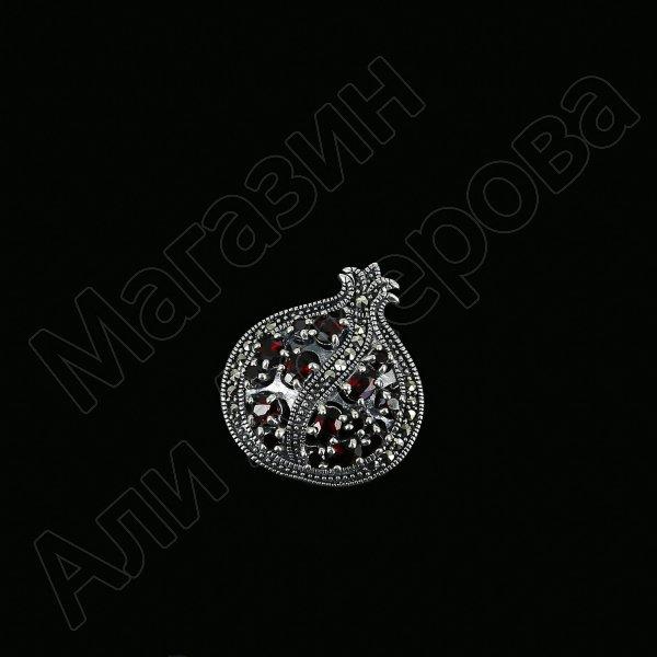 Серебряная брошь-подвеска Гранат (марказит, гранат) арт.12324