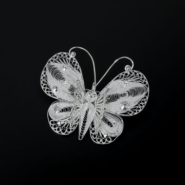 Серебряная брошь Бабочка