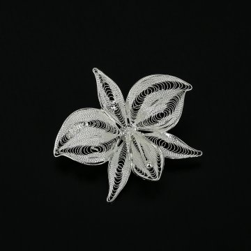 Серебряная брошь Орхидея
