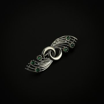 Серебряная брошь (фианит зелёный)