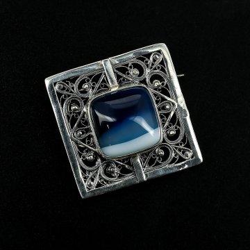 Эксклюзивная серебряная брошь (агат)
