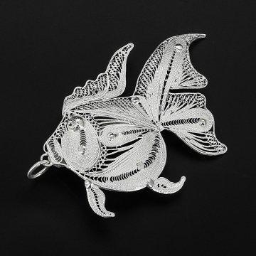 Серебряная брошь Рыбка