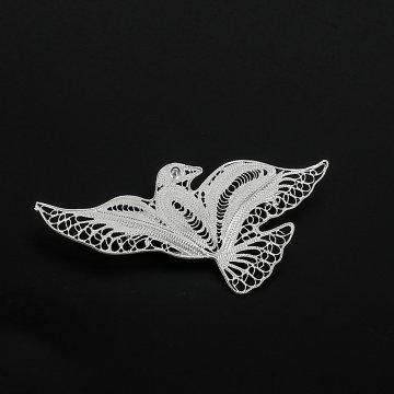 Серебряная брошь Птица
