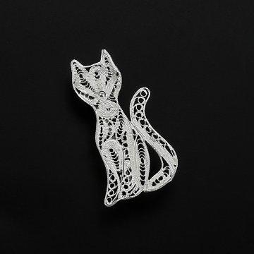 Серебряная брошь Кошечка