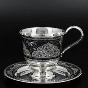 Серебряная чашка с блюдцем Кубачи ручной работы арт.10227