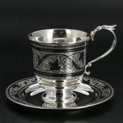 Серебряная чашка с блюдцем (кофейная пара)