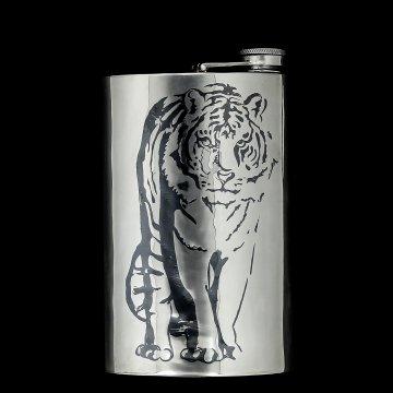 Серебряная фляга Тигр