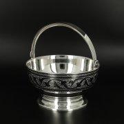 Серебряная конфетница Кубачи ручной работы арт.10676