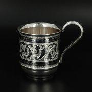 Серебряная кружка Кубачи ручной работы арт.10684