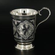 Серебряная кружка Кубачи ручной работы арт.11335