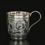 Серебряная кружка Кубачи ручной работы