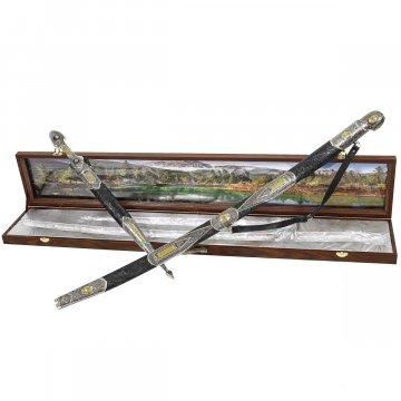 Кубачинский подарочный набор в футляре (шашка и кинжал)