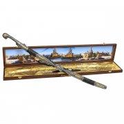 Кубачинский подарочный набор в футляре (шашка и 2 рога) арт.10959