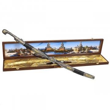 Кубачинский подарочный набор в футляре (шашка и 2 рога)