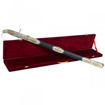 Кубачинская серебряная шашка с позолотой в подарочном футляре (булатная сталь, родовое клеймо)