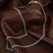 Серебряная цепь Бисмарк 50 см (ширина 0,4 см)