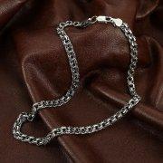 Серебряная цепь Бисмарк 45 см (ширина 0,6 см)