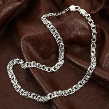 Серебряная цепь Бисмарк 55 см (ширина 0,8 см)