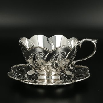 Серебряная чашка с блюдцем Кубачи ручной работы