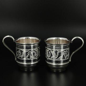 Серебряные кружки Кубачи ручной работы (2 персоны)