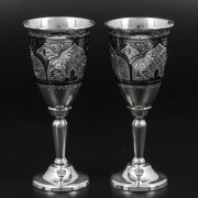 Серебряные рюмки Кубачи ручной работы (2 персоны) арт.10235
