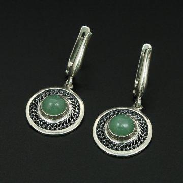 Кубачинские серебряные серьги с филигранью ручной работы (камень - нефрит)