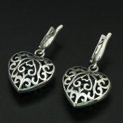 Кубачинские серебряные серьги с гравировкой ручной работы арт.10909