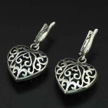 Кубачинские серебряные серьги с гравировкой ручной работы