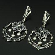 Кубачинские серебряные серьги с филигранью ручной работы арт.10910