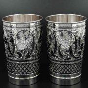 Серебряные стаканы Кубачи ручной работы (2 персоны) арт.10239