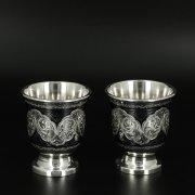 Серебряные стопки Кубачи ручной работы (2 персоны) арт.10678