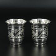 Серебряные стопки Кубачи ручной работы (2 персоны) арт.10818