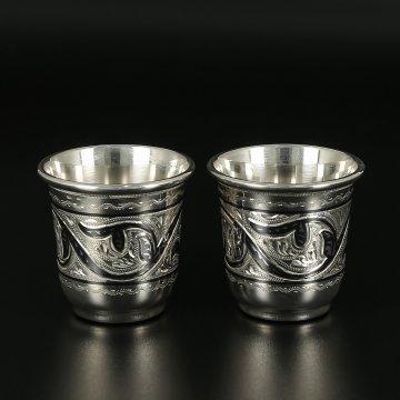Серебряные стопки Кубачи ручной работы (2 персоны)