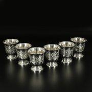 Серебряные стопки Кубачи ручной работы (6 персон) арт.10828