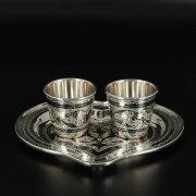 Набор серебряных стопок с подносом Кубачи ручной работы (2 персоны) арт.10829