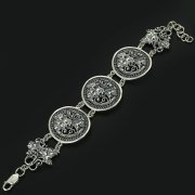 Серебряный кубачинский браслет с филигранью ручной работы арт.10866