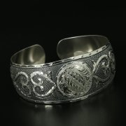 Серебряный кубачинский браслет с гравировкой арт.10912