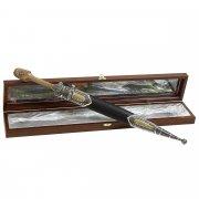 Кубачинский кинжал с цельной рукоятью (сталь - 65Х13, рукоять - дерево) арт.10954