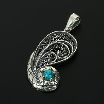 Кубачинский серебряный кулон с филигранью ручной работы (камень - бирюза)