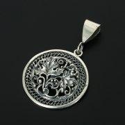 Кубачинский серебряный кулон с филигранью ручной работы арт.10875