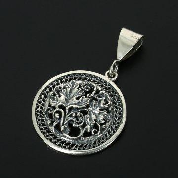 Кубачинский серебряный кулон с филигранью ручной работы