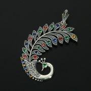 Кубачинский серебряный кулон с филигранью ручной работы (камень - циркон) арт.10885