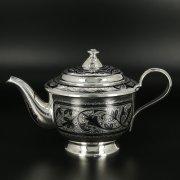 Серебряный чайник Кубачи ручной работы
