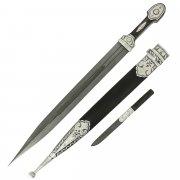 Кубачинский серебряный кинжал с ножом в подарочном футляре (дамасская сталь)