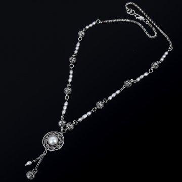Серебряное колье с филигранью (камень - жемчуг)