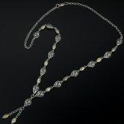 Серебряное колье с филигранью (камень - лабрадор)