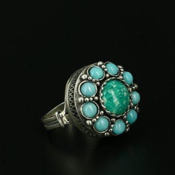 Серебряное кольцо с филигранью (амазонит, бирюза)
